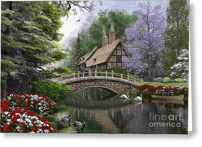 Victorian Greeting Cards - River Cottage Greeting Card by Dominic Davison