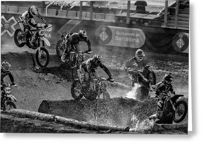 Motorcycles Pyrography Greeting Cards - Water crossing Greeting Card by Christofer Garcia