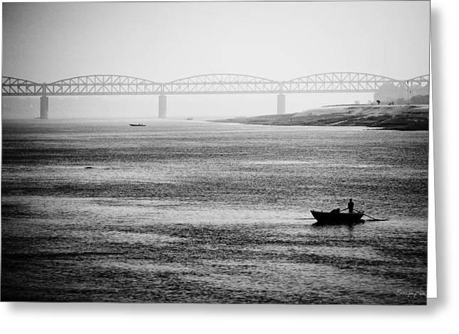 Lingam Greeting Cards - River Crossing in Varanasi Banaras India Greeting Card by Sanjay Nayar