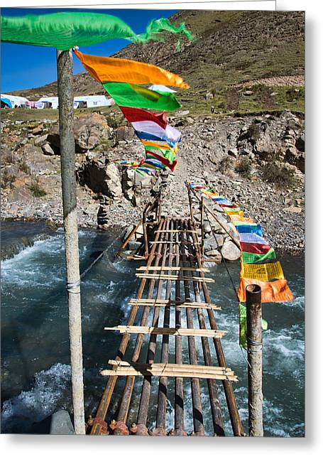 Tibetan Buddhism Greeting Cards - River Crossing Greeting Card by James Wheeler