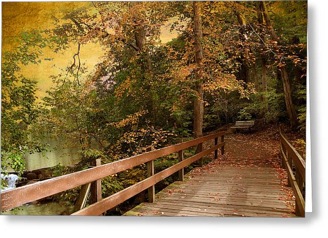 Autumn Landscape Digital Greeting Cards - River Crossing Greeting Card by Jessica Jenney