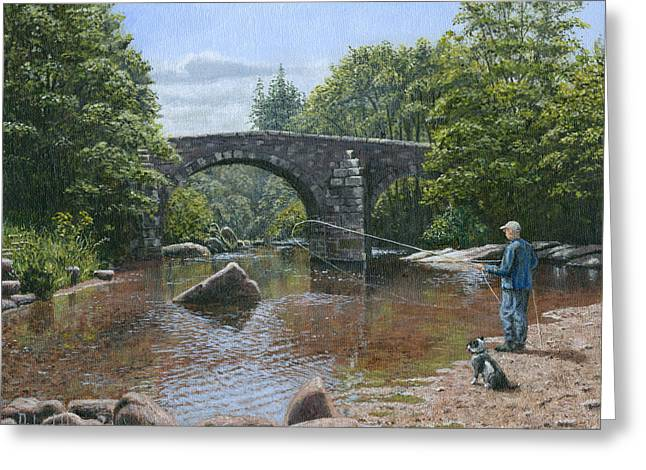 Bridge Greeting Cards Greeting Cards - River Dart Fly Fisherman Greeting Card by Richard Harpum