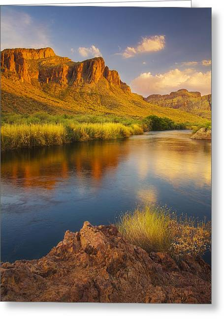 Monsoon Clouds Greeting Cards - River Days Greeting Card by Peter Coskun