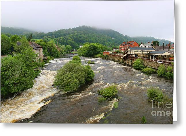 River Dee Greeting Cards - River Dee Panorama Llangollen Wales Greeting Card by Jack Schultz