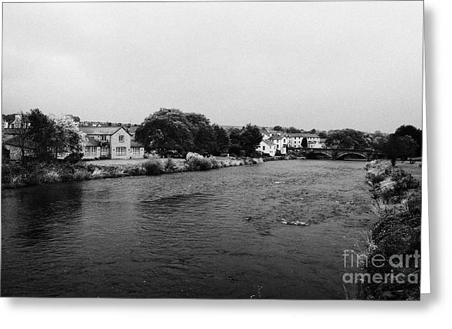 Overcast Day Greeting Cards - River Derwent On A Rainy Overcast Day Cockermouth Cumbria England Greeting Card by Joe Fox