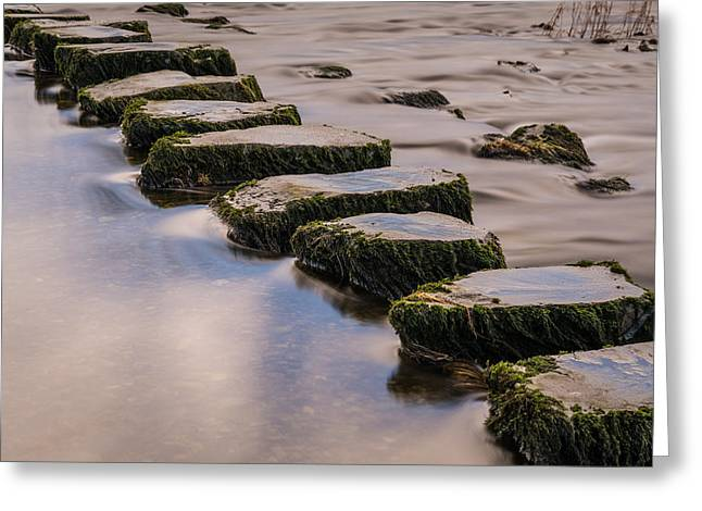 Long Exposure Greeting Cards - River Doe Stepping Stones. Greeting Card by Daniel Kay