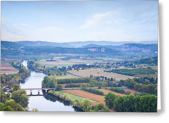 Dordogne Greeting Cards - River Dordogne from Domme Aquitaine France Greeting Card by Colin and Linda McKie