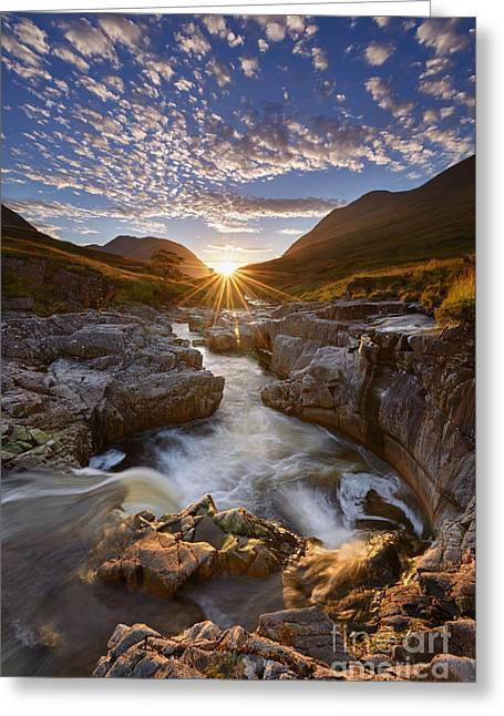 Sun Flare Greeting Cards - River Etive Greeting Card by Rod McLean