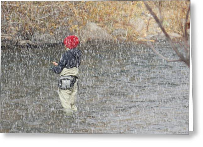 River Fishing In The Snow Greeting Card by Brent Dolliver