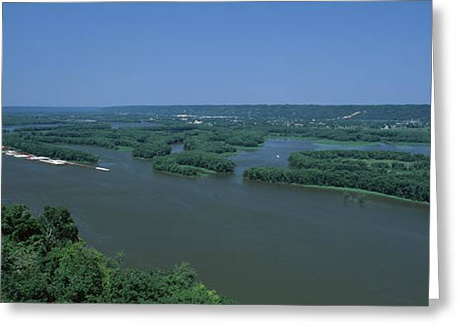 Mississippi River Scene Greeting Cards - River Flowing Through A Landscape Greeting Card by Panoramic Images