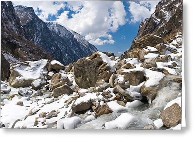 Mountain Greeting Cards - River Flowing Through Rocks, Modi Khola Greeting Card by Panoramic Images