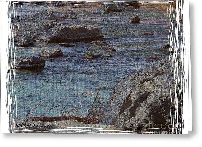 Matting Greeting Cards - River Flows Greeting Card by Bobbee Rickard