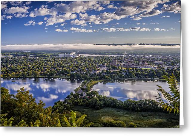 Height Greeting Cards - River fog at Winona Greeting Card by Al  Mueller