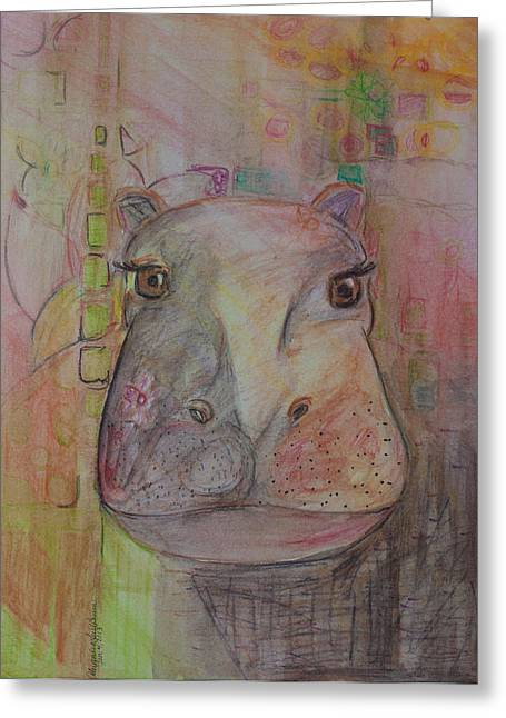 Hippopotamus Drawings Greeting Cards - River Horse Greeting Card by Alexandra Benson