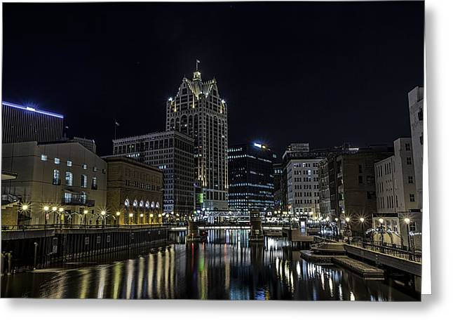 40mm Greeting Cards - River in the City Greeting Card by CJ Schmit