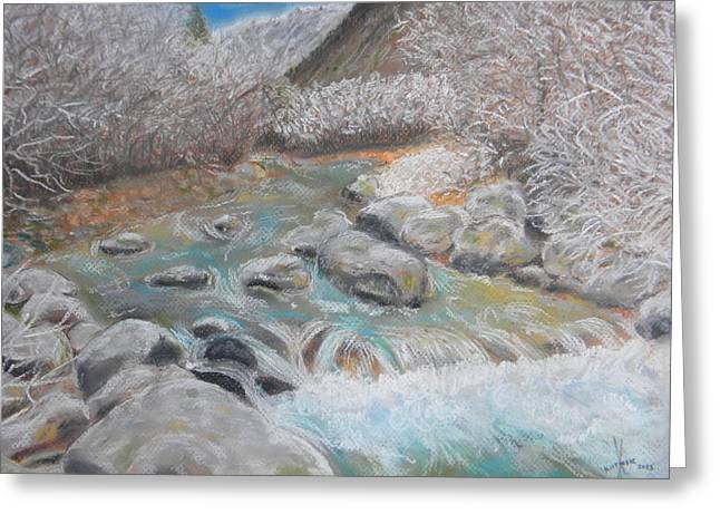 White River Pastels Greeting Cards - River in winter Greeting Card by Igor Kotnik