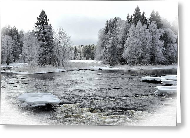 Wintry Pyrography Greeting Cards - River in winter. Textured Greeting Card by Conny Sjostrom