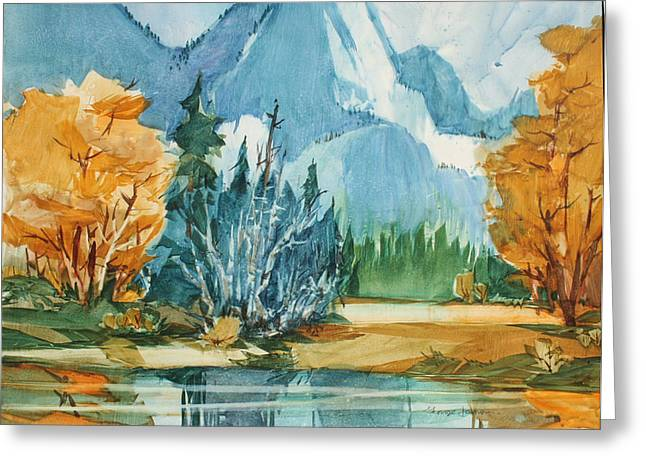 Half Dome Paintings Greeting Cards - River Inlet Greeting Card by George James