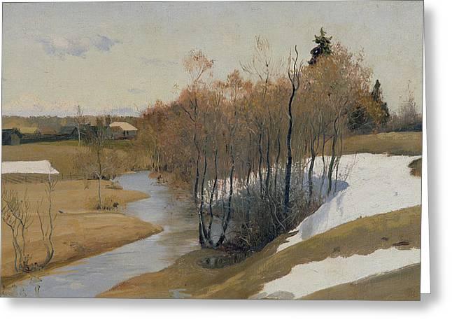 Rural Snow Scenes Greeting Cards - River Kordonka Greeting Card by Andrei Petrovich Ryabushkin