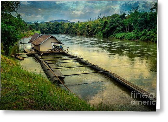 Floating House Greeting Cards - River Kwai Kanchanaburi  Greeting Card by Adrian Evans