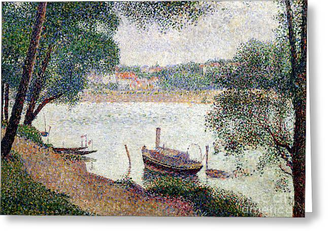 Georges Pierre Greeting Cards - River Landscape with a boat Greeting Card by Georges Pierre Seurat