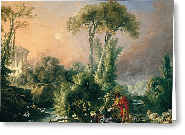 Francois Boucher Greeting Cards - River Landscape with an Antique Temple Greeting Card by Francois Boucher