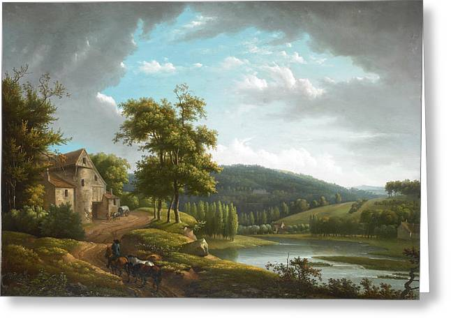 Hyacinthe Greeting Cards - River landscape with farmhouse Greeting Card by Alexandre-Hyacinthe Dunouy