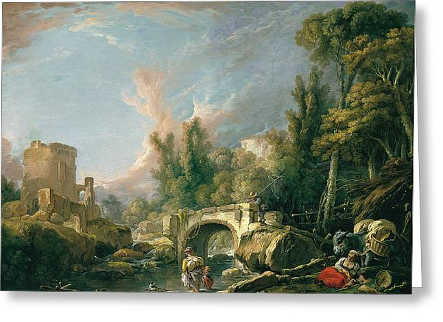 River Landscape With Ruin And Bridge Greeting Card by Francois Boucher