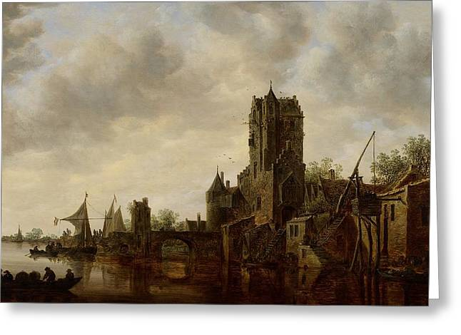 Docked Sailboats Greeting Cards - River Landscape with the Pellecussen Gate near Utrecht Greeting Card by Jan Josephsz van Goyen