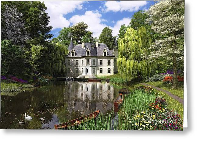 Swans... Digital Art Greeting Cards - River Mansion Greeting Card by Dominic Davison