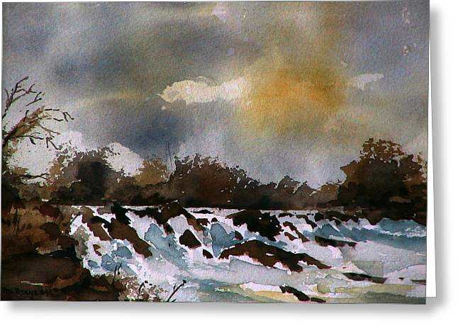 Salmon Paintings Greeting Cards - River Moy nr Foxford  Mayo Greeting Card by Val Byrne