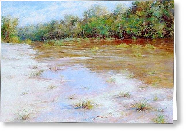 Grape Leaves Pastels Greeting Cards - River Nature Landscape Greeting Card by Nancy Stutes
