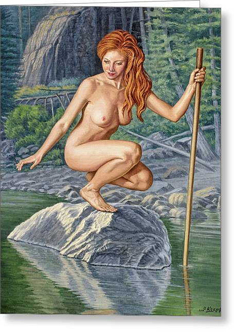 Figures Paintings Greeting Cards - River Nymph Greeting Card by Paul Krapf
