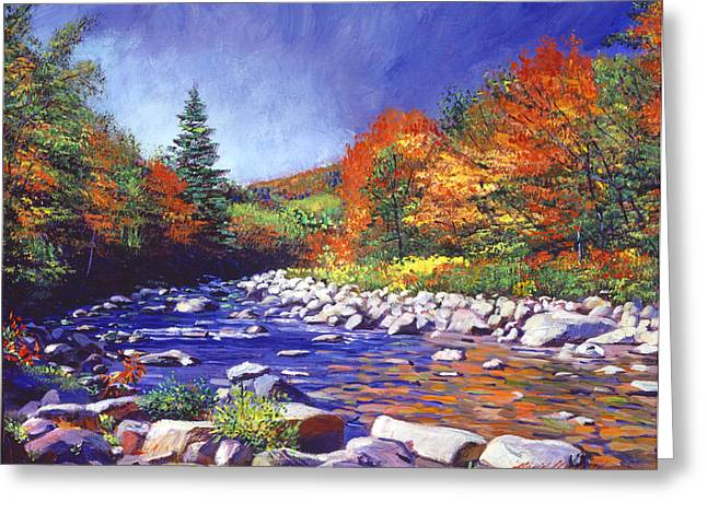 New England Wilderness Greeting Cards - River of Autumn Colors Greeting Card by David Lloyd Glover