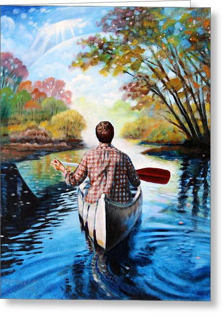 Canoe Greeting Cards - River of Dreams Greeting Card by John Lautermilch