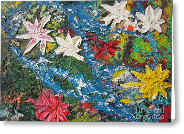 Life Line Mixed Media Greeting Cards - River of flowers  Greeting Card by Max Lines