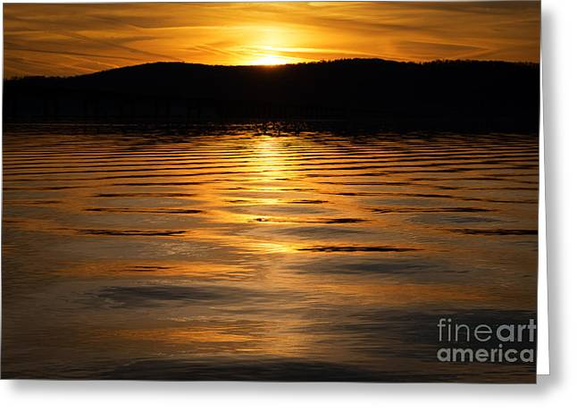 Reflection Of Sun In Clouds Greeting Cards - River of Gold  Greeting Card by Michael Ver Sprill