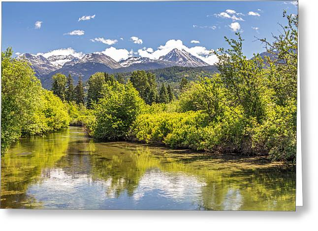 Snow Capped Greeting Cards - River of Golden Dreams in Summer Greeting Card by Pierre Leclerc Photography