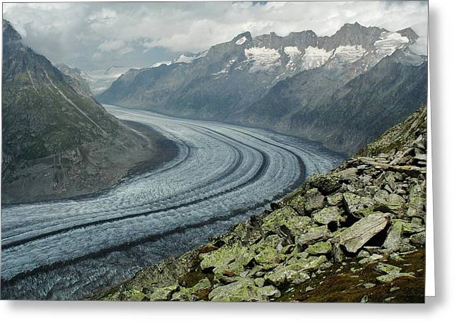 Valais Canton Greeting Cards - River of Ice Greeting Card by David Broome