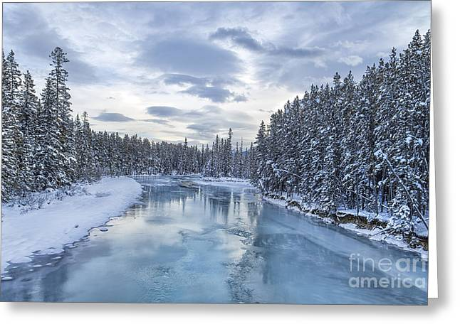 Banff Greeting Cards - River Of Ice Greeting Card by Evelina Kremsdorf