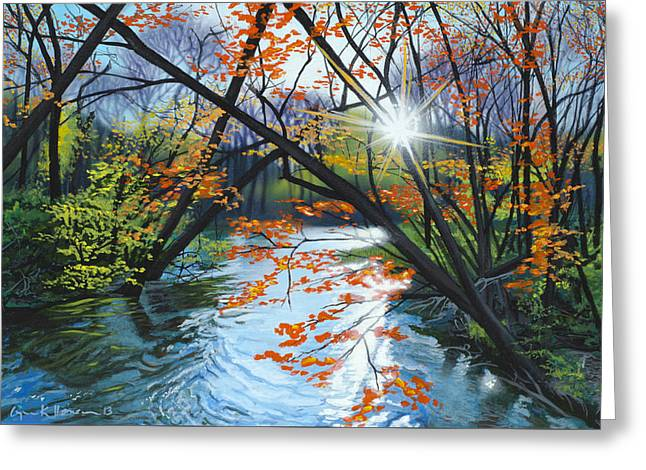 Rivers In The Fall Paintings Greeting Cards - River of Joy Greeting Card by Lynn Hansen