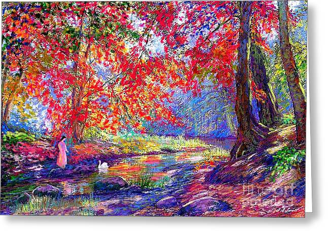 Bright Art Greeting Cards - River of Life Greeting Card by Jane Small