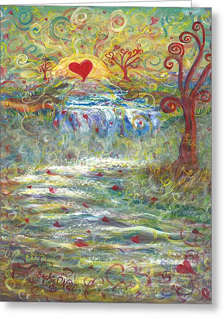 Heart Of Waterfalls Greeting Cards - River of Love Greeting Card by Beckie J Neff