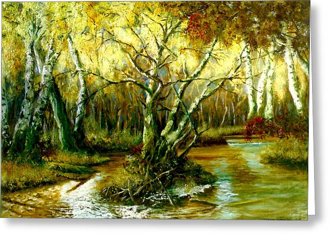 Reflections In River Greeting Cards - River in the forest Greeting Card by Henryk Gorecki