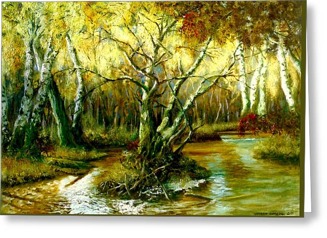 Reflections Of Trees In River Greeting Cards - River in the forest Greeting Card by Henryk Gorecki