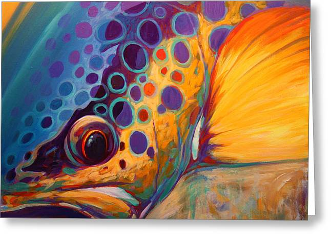 Trout Fishing Greeting Cards - River Orchid - Brown Trout Greeting Card by Mike Savlen