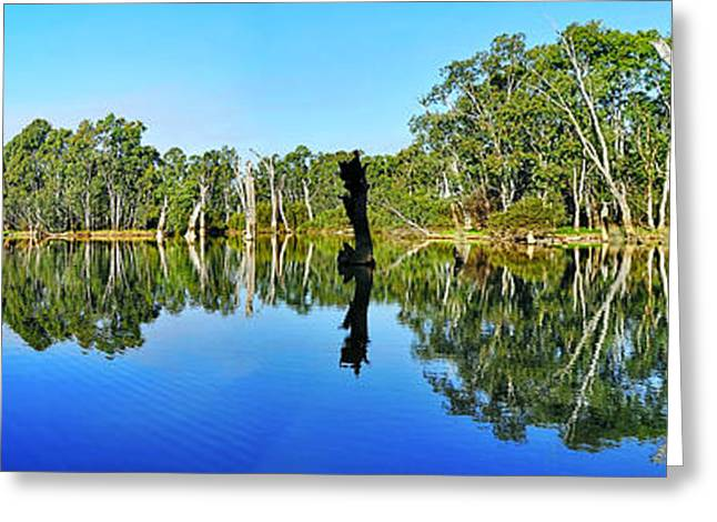 River Panorama and Reflections Greeting Card by Kaye Menner