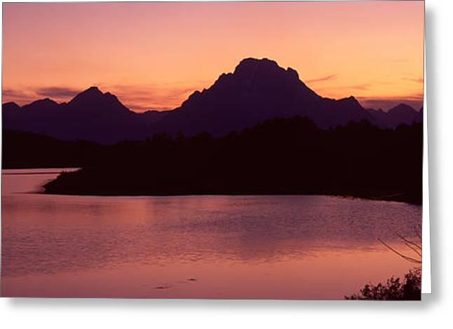 Panorama Mountain Images Greeting Cards - River Passing By A Mountain Range Greeting Card by Panoramic Images