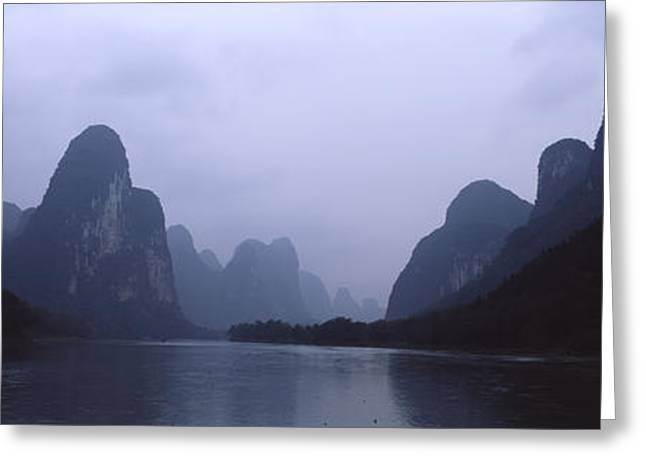 Peaceful Scene Greeting Cards - River Passing Through A Hill Range Greeting Card by Panoramic Images