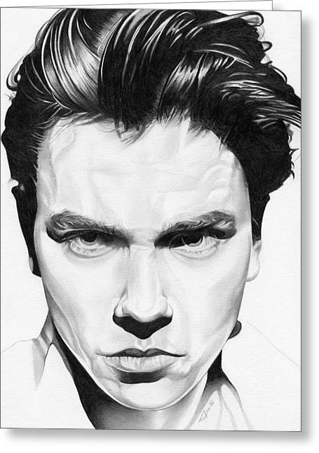 Indiana Rivers Drawings Greeting Cards - River Phoenix Greeting Card by Fred Larucci